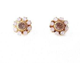 Gold Stud Earrings - Swarovski Crystal - Pink - The Cocktail: 12mm Flower