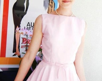 1950s Style Dress - Audrey Hepburn Style Dress - Birdesmaid Dress - Bridal Shower Dress - Full Circle Dress- Pink Dress - Handmade USA