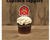 Farm Birthday Party - Set of 12 Red Barn Cupcake Toppers by The Birthday House
