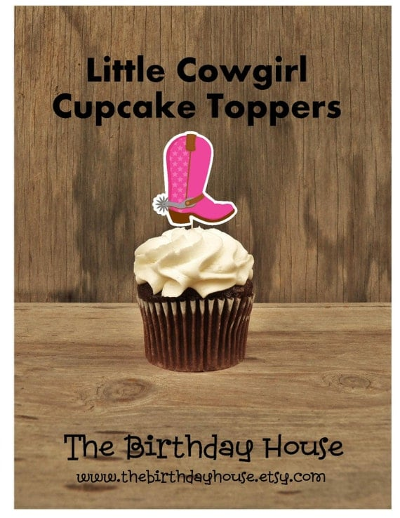 Cowgirl Birthday Party - Set of 12 Pink Boot Cupcake Toppers by The Birthday House