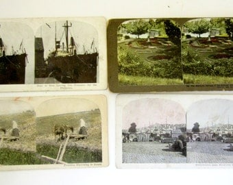 Lot of 4 Stereoptic Stereoview Photo Cards Stereo Views Antique USS Navy Ship Sweden Garden Russia