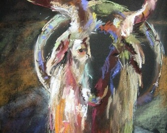 Goat Art, Farm Animal Art, Art Print, Wall Art, 8 x 10, Free Shipping, Billy Goat, Animal Portrait, Black Linen, Animal Drawing, Farm Animal