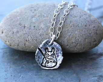 Ancient Totoro Fragment necklace - handmade fine silver hammered & oxidized charm on a textured sterling silver chain - free shipping USA