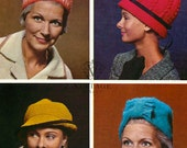 INSTANT DOWNLOAD under a dollar-4 1960s hats- vintage knitting pattern-pdf email delivery