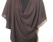 Women clothing, multiway shrug, dark brown polyester, 7 in 1