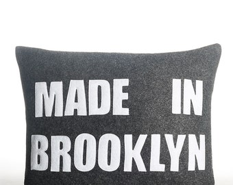 """Made in Brooklyn -  recycled felt applique pillow 14"""" x 18"""" - more colors available"""