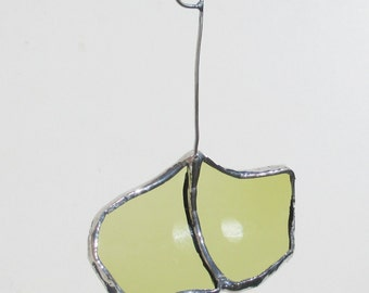 Green Ginkgo Leaf - Upcycled Stained Glass Suncatcher