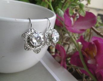 Vintage Inspired Swarovski Clear Diamond Crystal, Set In Dark Silver Filigree Floral Leverback Earrings
