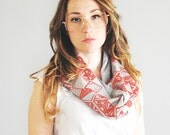 ON SALE - Mountain Kaleidoscope - Red and Heather Grey - hand printed circle scarf - by Simka Sol