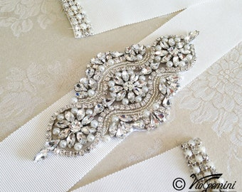 Rhinestone wedding sash, wedding sash,  bridal sash, pearl wedding sash, Petersham Grosgrain Sash