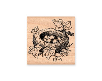 Birds Nest Rubber Stamp~Bird Nest with eggs on a branch with Ivy and leaves~Wood Mounted Rubber Stamp (27-03)