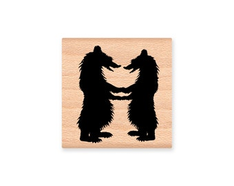 BEAR COUPLE-wood mounted rubber stamp-(34-38)
