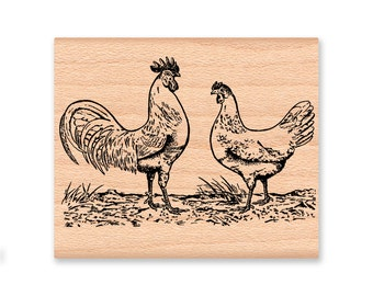 COUNTRY CHICKENS-Rooster and Hen-wood mounted rubber stamp-(39-06)