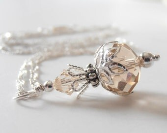 Champagne Bridesmaid Crystal Pendant Necklace Bridesmaid Jewelry Crystal Wedding Jewelry Bridesmaid Necklace Beige Crystal Bridal Jewelry