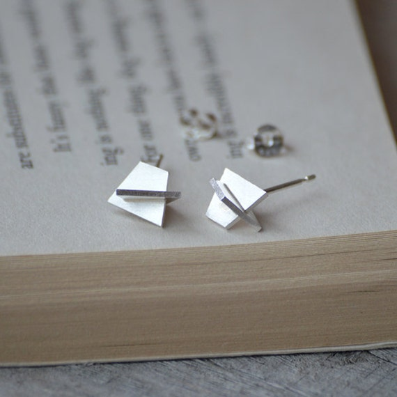 wearable sculpture earring studs, abstract earring studs handmade  in sterling silver