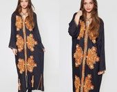 Vintage EMBROIDERED Caftan Black Ethnic Boho FESTIVAL Maxi Dress O/S