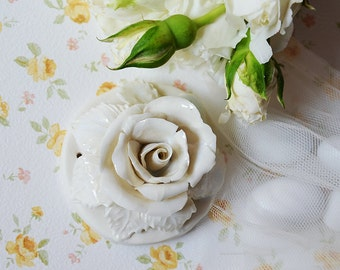 Porcelain white Rose - wedding - favour - MADE TO ORDER  - Traditional - Home Decor - hanging decor