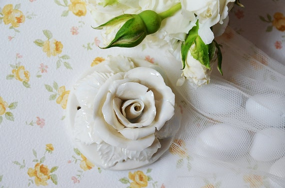 Porcelain white Rose - wedding - favour - - Traditional - Home Decor - hanging decor
