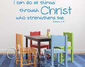 I can do all things through Christ, Kid version vinyl decal,  Phil 4:13 Bible verse