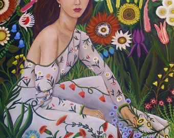 Fine art Print of Original Painting-Wild Flower Daydream-by Catherine Nolin