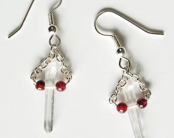 Quartz Point n Garnet Dangle Earrings, Natural Quartz Crystal Point Earrings, Boho Garnet and Crystal Point Earrings, Raw Stone Jewelry