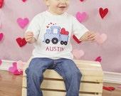 Personalized Valentines Train Applique-Valentines Day Shirt-Train Applique-Heart Train-Valentines Appliqued Shirt or One Piece-Heart Shirt