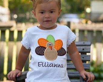 Personalized Thanksgiving Turkey Applique Shirt, Turkey Applique, Toddler Girls Personalized Shirt, Thanksgiving Applique, Fall Shirt, LDM