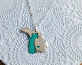Petite Size Michigan with Upper Peninsula and Lake Michigan Necklace Choose your Metal Type and Heart Location