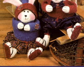 """Sewing Pattern 16"""" Plush Bunnies and Clothing - Chloey Cottontail & Timothy Trialhopper"""