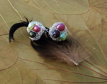 Magpie Nest Post Earrings - Multicolored  Freshwater Pearl Birds Nests - Silver
