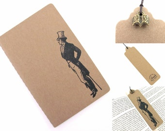 Pride and Prejudice Mr Darcy Small Moleskine Notebook and Bookmark With Charm - Hand Stamped