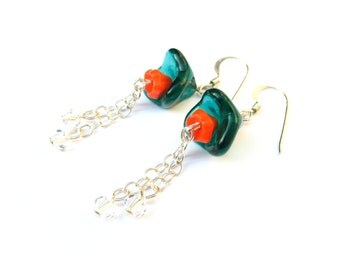 Teal Blue and Orange Flower Earrings in Sterling Silver