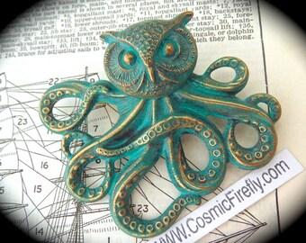 Owlctopus Pin Verdigris Green Owl Octopus Brooch Owlctopus Brooch Half Owl Half Octopus Rustic Green Original Design Gothic Steampunk Pin