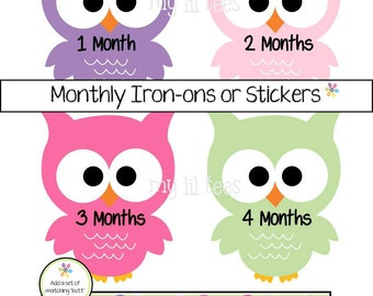 MONTHLY IRON-ONS or Monthly stickers for baby girl - Owls (A04)