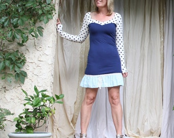 upcycled clothing . XS - S . sheath dress . l'heure bleu