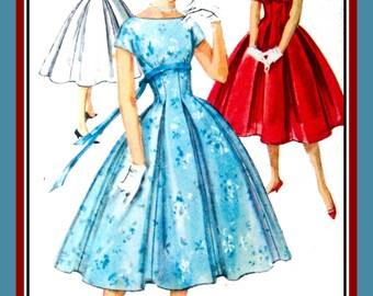 Vintage 1958-Darling Empire Waist Party Dress-Sewing Pattern-Three Styles-Kimono Sleeves-Twirl Flirt Skirt -Bow RibbonTie- Size 14- Rare