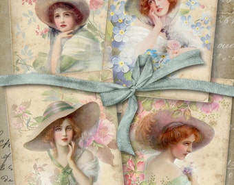 Printable Digital Collage Sheet SOFT BEAUTY Vintage Style Greeting Cards romantic women images scrapbooking decoupage paper craft gift tags