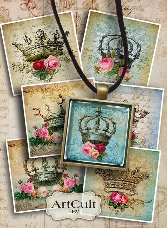 Printable Downloads CROWNS Digital Collage Sheet 1x1 inch, 7/8x7/8 inch, 1.5x1.5 inch size images for pendants, magnets, bezel settings