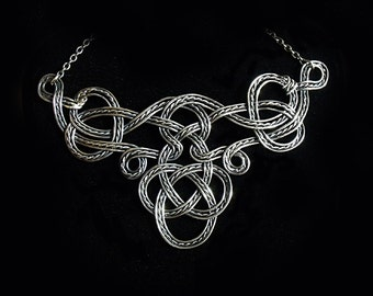 Celtic Necklace in Dark Sterling Silver Wire I
