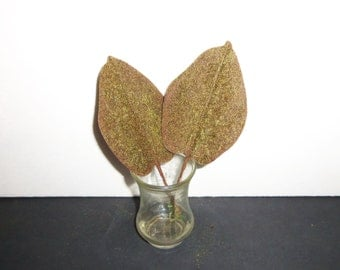 Vintage Millinery Flower Leaf Heart Shape OMBRE Green Brown Flocked Velvet Tropical