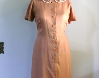 vintage 1960s Dress  // Butterscotch Petal Collar Dress
