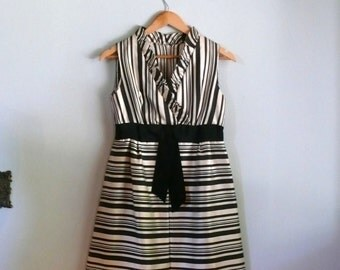 vintage 1960s Dress  // Striped Cocktail Dress