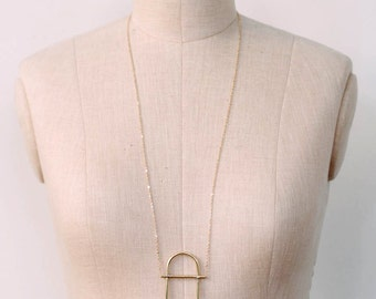 Oval Brass Necklace