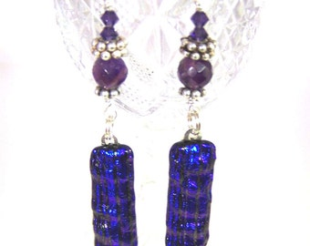 Amethyst and Deep Purple Dichroic Earrings, Fused Dichroic Glass, Sterling Silver and Swarovski Crystals.Long Statement Earrings Leslie Dana