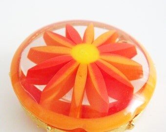 Vintage 1960s Lucite Brooch, Orange Flower Power Brooch Costume Jewelry, MOD Orange Brooch,  Lucite Daisy Pin by Marvella