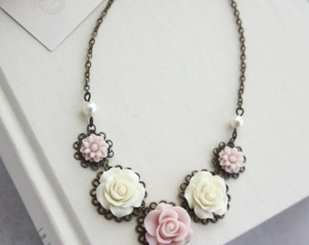 Ivory, Blush Pink, Light Pink, Ivory Pearls Antiqued Brass Flower Bib Necklace. Bridesmaid Gift, Pink Rustic Spring Wedding. Bridal Necklace