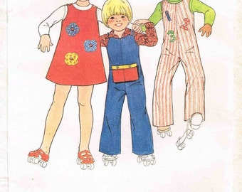 Toddler Girls Boys Sewing Pattern Jumper dress Overalls Jumpsuit Butterick 4930  Iron on Appliques Whale Numbers Size 2 3 Bust 21 22