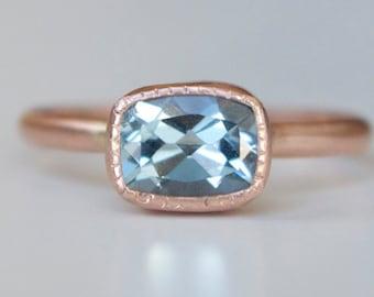 Aquamarine Ring in 14k Rose Gold -  Antique Cushion Cut Gemstone Ring - Millgrain Bezel Detail Ring -  Rose and Aquamarine