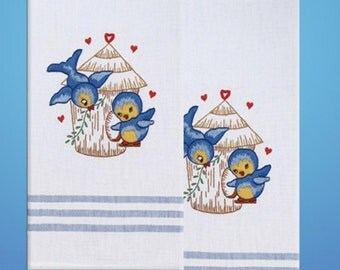 Tobin Home Crafts - Bird T212935 Kitchen Towels Stamped for Embroidery
