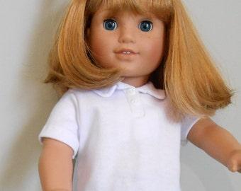 School uniform white polo shirt fits American Girl doll